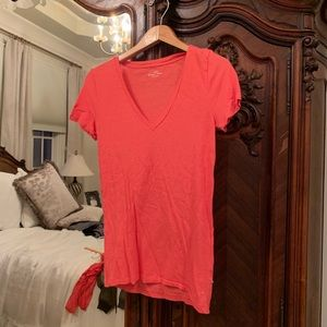 J Crew Pink V Neck Tee Size S